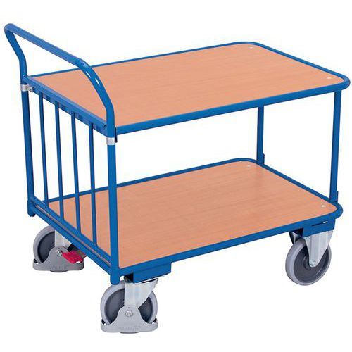 Ergonomische wagen met 2 houten plateaus - Verticale duwbeugel - Draagvermogen 400kg