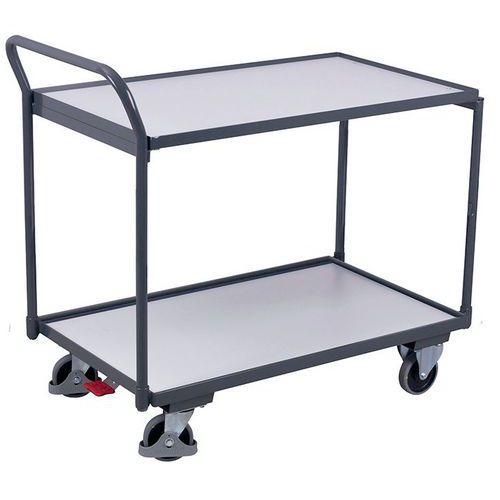 Ergonomische wagen met 2 houten plateaus ESD - Verticale duwbeugel - Draagvermogen 250kg