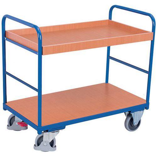 Ergonomische wagen met 2 houten plateaus - Verticale duwbeugel - Draagvermogen 250kg
