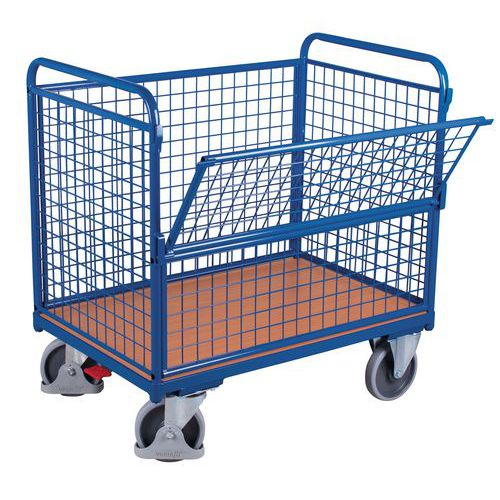 Ergonomische plateauwagen met gaaswanden en half neerklapbaar paneel - Draagvermogen 500 kg