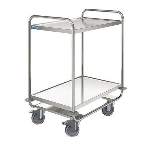 Roestvrij stalen serveerwagen - 2 legborden - Draagvermogen 160 kg
