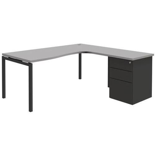 Compact bureau met ladeblok open lichtgrijs antraciet for Ladeblok metaal
