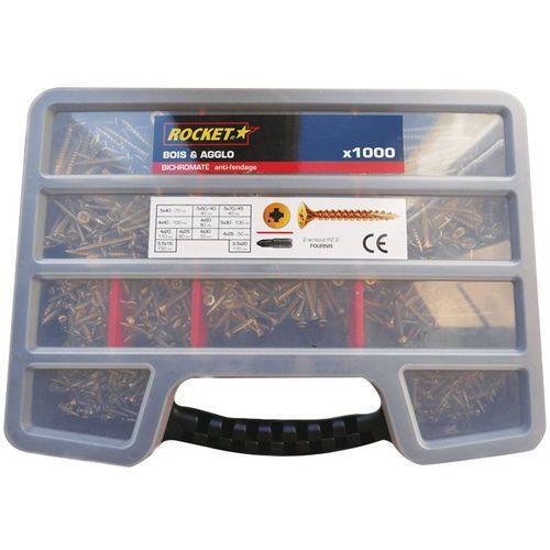 Assortimentsdoos met schroeven met kruiskop Pozidriv®, volledige schroefdraad - 1000 stuks - Rocket