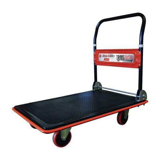 Plateauwagen staal met neerklapbare duwbeugel - Draagvermogen 150 en 300kg