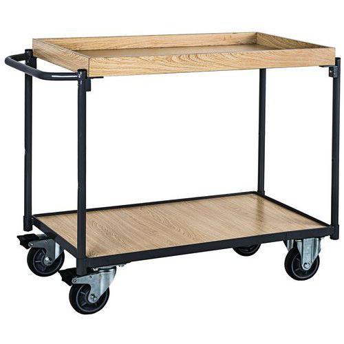 Tafelwagen hout met 2 plateaus en opstaande rand - 250 kg - Horizontale stang - Manutan