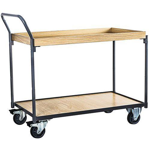 Tafelwagen hout met 2 plateaus en opstaande rand - 250kg - Verticale stang - Manutan
