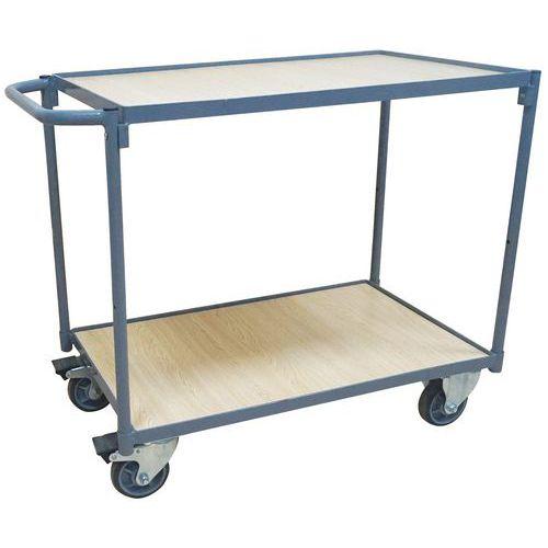 Tafelwagen met 2 plateaus - 250kg - Horizontale stang - Manutan