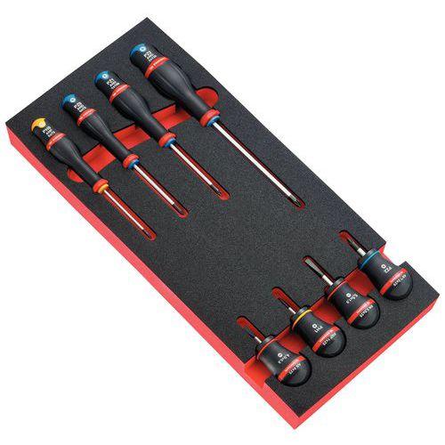 Module 8 schroevendraaiers Protwist® - Plat/Phillips/Pozidriv - 4 bollen