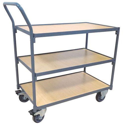 Tafelwagen met 3 plateaus - 250kg - Verticale stang - Manutan