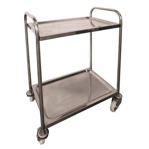 Rvs plateauwagen - 2 legborden - Draagvermogen 100 kg