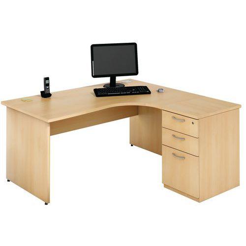 Compact bureau met ladeblok - Onderstel met wangen - Beuken - Manutan
