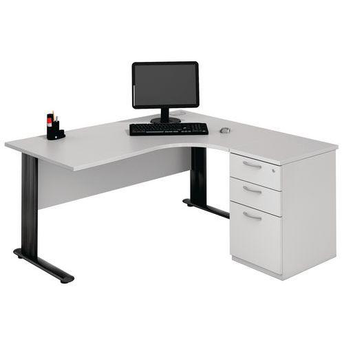 Compact bureau met C-poten - Lichtgrijs/antraciet - Manutan