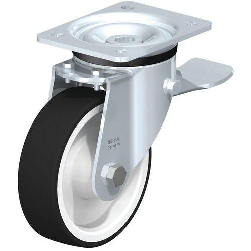 Zwenkwiel met grondplaat geremd - Draagvermogen 200 tot 600 kg