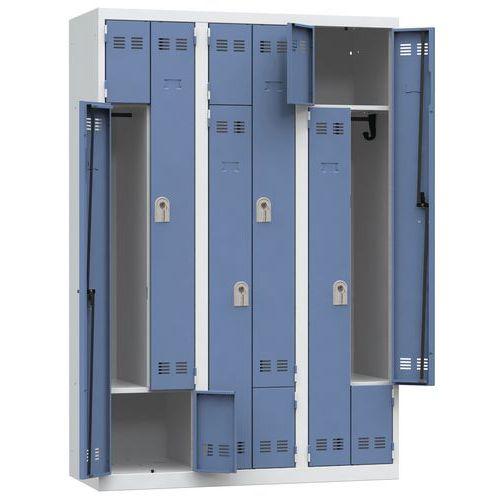 L-vormige, ruimtebesparende garderobekast - 3 kolom - Breedte 400 mm