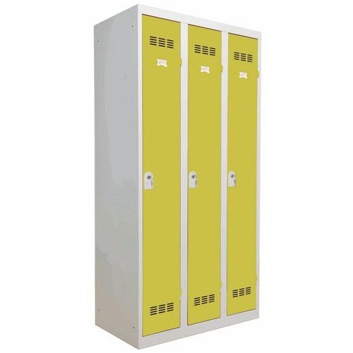 Garderobekast lichte industrie - Breedte 300 mm - 3 kolommen - Vinco
