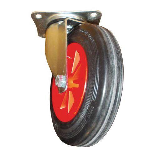 4 rubberen zwenkwielen, diameter 200