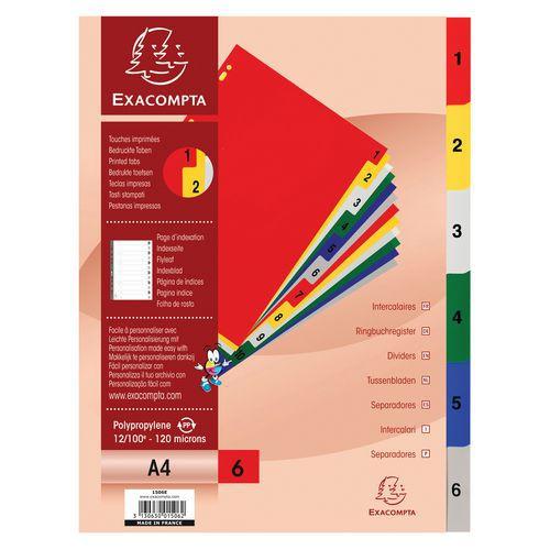 Tabblad 20 st. gekleurde pp 6 tabs 1 tot 6 A4 - Exacompta