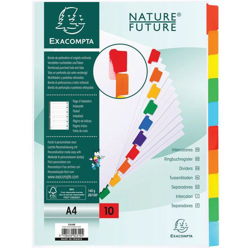 Tabblad 20 st 160g gekleurd geplastificeerd 10 tab A4 index