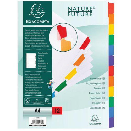 Tabblad 20 st 160g gekleurd geplastificeerd 12 tab A4 index