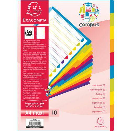 Tabblad campus® pp 10 onbedrukte tabs A4 - Exacompta