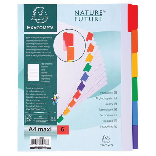 Tabblad 20 st 60g 6 geplastificeerd gekleurd tabs index A4