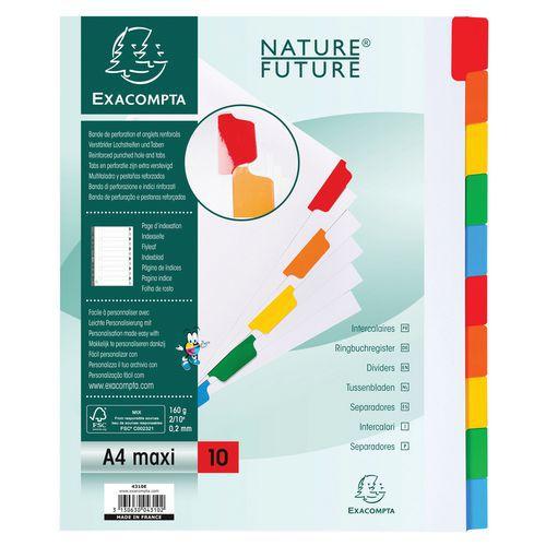 Tabblad 20 st 160g 10 geplastificeerd gekleurd tab index A4
