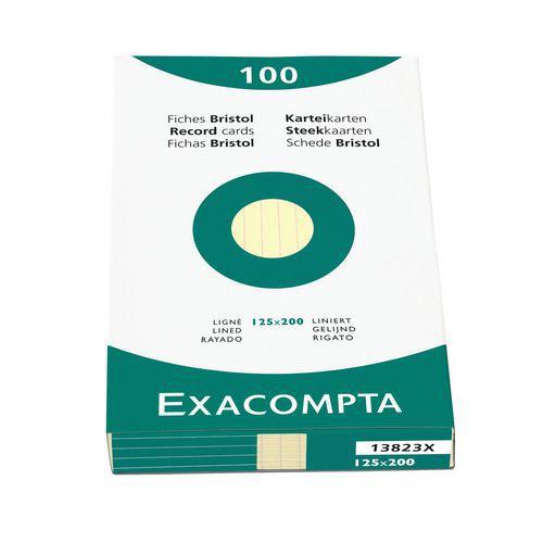 Steekkaart bristol 100 vel gelijnd 125x200mm Exacompta