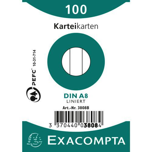 Steekkaart bristol 100 vel folie lijn 55x74mm Exacompta
