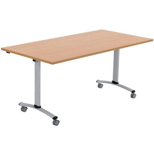 Mobiele tafel met inklapbaar, rechthoekig blad - Beuken