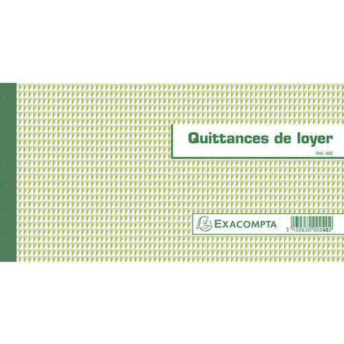Bonboek huurkwitantie  horizontaal 13,5x18 ,5 FR. Exacompta