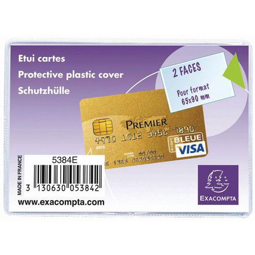 Beschermhoes 10 st. bankkaart pvc 20/100 65x95mm Exacompta