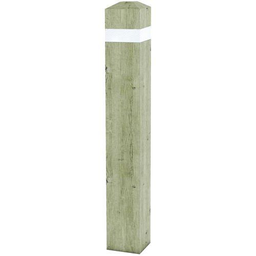 Vierkante paal van naaldhout, retro-reflecterend - Vast