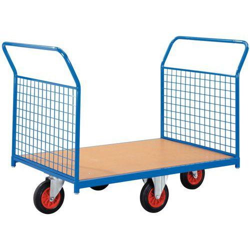 Gaaswandplateauwagen met wielen in ruitvorm - Draagvermogen 500 kg - 2 ruggen