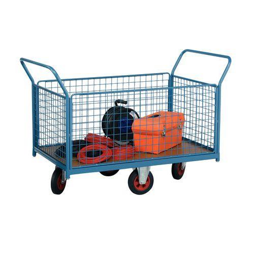Gaaswandplateauwagen met wielen in ruitvorm - Draagvermogen 500 kg - 2 ruggen en 2 zijpanelen