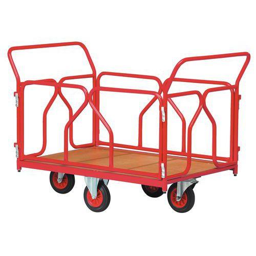 Plateauwagen met wielen in ruitvorm - Draagvermogen 500 kg - 2 ruggen en 2 zijpanelen