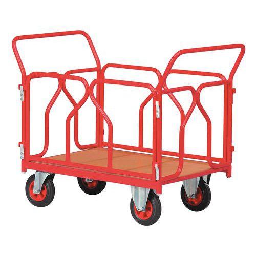 Plateauwagen - Draagvermogen 500 kg - 2 ruggen en 2 zijpanelen