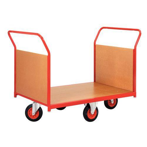 Plateauwagen met houten wanden en wielen in ruitvorm - Draagvermogen 500 kg - 2 ruggen