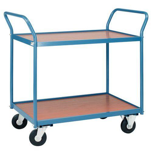 Tafelwagen met houten plateaus 150kg - 2 plateaus - Rubberen banden