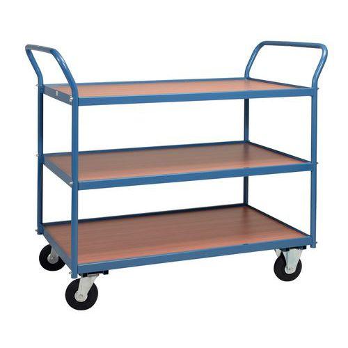 Tafelwagen met houten plateaus 250kg - 3 plateaus - Rubberen banden