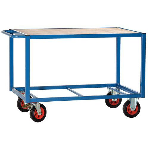 Tafelwagen met houten plateau 500kg - 1 plateau - Rubberen banden