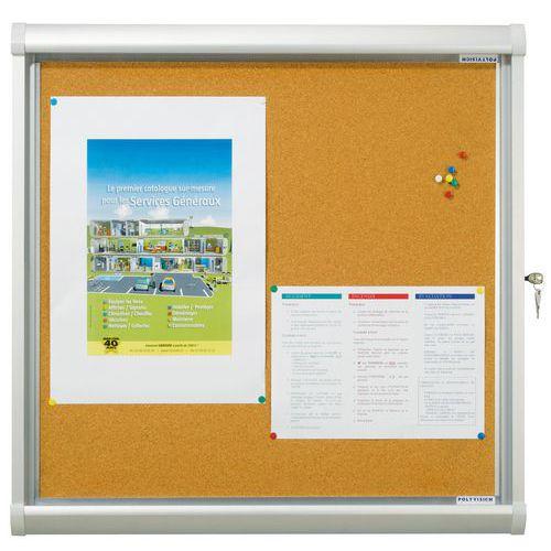 Buitenvitrine Design - Achterwand van kurk - Deur van veiligheidsglas