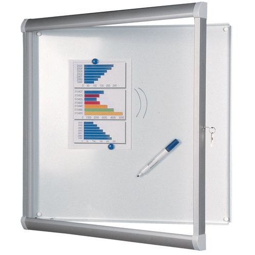 Binnenvitrine Design - Aluminium achterwand - Deur van veiligheidsglas