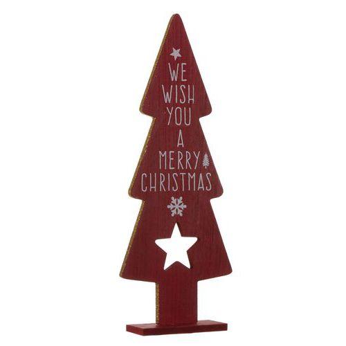 Houten figuur kerstboom rood H35,5 cm