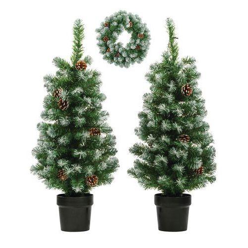 Set 2 kerstbomen en 1 krans Norton met verlichting