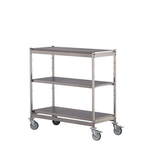 Tafelwagen in roestvrij staal - 3 legbladen - Draagvermogen 200 kg