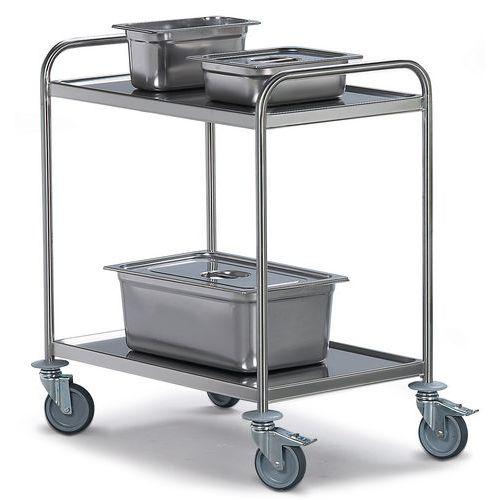 Roestvrij stalen serveerwagen - 2 legborden - Draagvermogen 120 kg