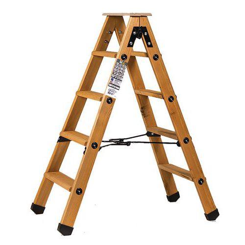 Professionele dubbelzijdige trapladder van hout - Centaure