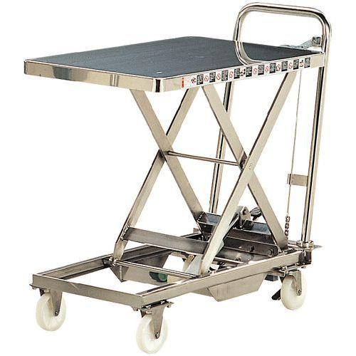 Afbeelding van Mobiele heftafel in rvs - Hefvermogen 100 en 200 kg