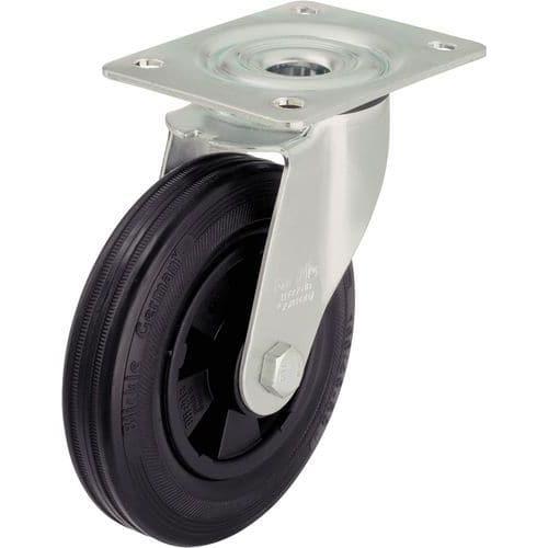 Zwenkwiel met grondplaat - Draagvermogen 50 tot 295 kg - Zwart
