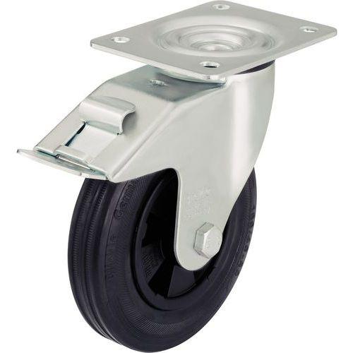 Zwenkwiel met grondplaat en rem - Draagvermogen 50 tot 295 kg - Zwart